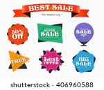 sale vector badges with ribbon  ... | Shutterstock .eps vector #406960588