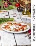 barbecued turkish beyti kebab... | Shutterstock . vector #406963540