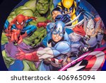 Small photo of SHANGHAI, CHINA - APR 3, 2016: Marvel Avengers illustration at the Shanghai Madame Tussauds wax museum. Marie Tussaud was born as Marie Grosholtz in 1761