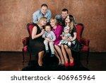 three generation family sitting ... | Shutterstock . vector #406965964