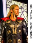 Small photo of SHANGHAI, CHINA - APR 3, 2016: Chris Hemsworth as Thor at the Shanghai Madame Tussauds wax museum. Marie Tussaud was born as Marie Grosholtz in 1761