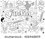 india coloring book line art... | Shutterstock .eps vector #406968859