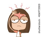 illustration cute girl headache ... | Shutterstock .eps vector #406972003