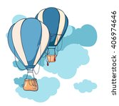 hot air balloon in the sky... | Shutterstock .eps vector #406974646