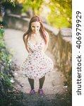 happy girl portrait | Shutterstock . vector #406979929