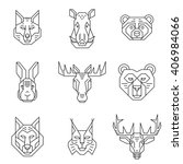 forest animals heads line icons.... | Shutterstock .eps vector #406984066