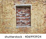 Old Dilapidated Brick Wall Wit...