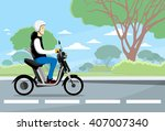 man ride moped electric scooter ... | Shutterstock .eps vector #407007340