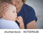 portrait of young mother with... | Shutterstock . vector #407009638
