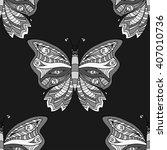 zentangle stylized butterfly...   Shutterstock .eps vector #407010736