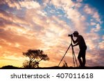 male photographer taking photos ... | Shutterstock . vector #407011618