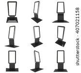 lcd screen floor stand set.... | Shutterstock . vector #407021158