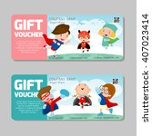 gift voucher template and... | Shutterstock .eps vector #407023414