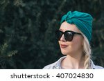 young woman outdoors fashion... | Shutterstock . vector #407024830