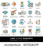 thin line icons set. business... | Shutterstock .eps vector #407028199