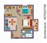 detailed apartment furniture... | Shutterstock .eps vector #407032708