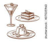 set of desserts. isolated on...   Shutterstock .eps vector #407035960