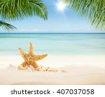 summer sandy beach with blur... | Shutterstock . vector #407037058