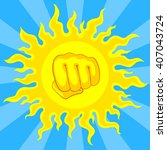 bright yellow sun and fist in... | Shutterstock .eps vector #407043724