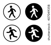 man walk and run icon set in... | Shutterstock .eps vector #407049358