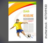 concept of soccer player with... | Shutterstock .eps vector #407049430