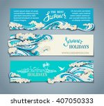 vector set of sea ocean... | Shutterstock .eps vector #407050333