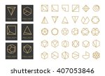 Collection of thin 30 black icons,6 trendy gold Logo.Linear design elements.Geometric icon,geometric pattern,geometric shape,label,monogram,hexagons,triangles,squares,circles.Vector.Isolated on white