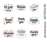 set of 9 thank you labels ... | Shutterstock .eps vector #407054158