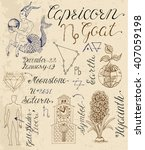 collection of hand drawn... | Shutterstock .eps vector #407059198