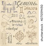 collection of hand drawn... | Shutterstock .eps vector #407059450