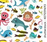 cute seamless underwater... | Shutterstock . vector #407059693