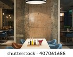 modern restaurant interior with ... | Shutterstock . vector #407061688
