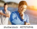 runner woman with heart rate... | Shutterstock . vector #407076946