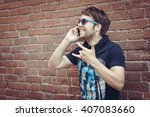 bearded  young stylish hipster... | Shutterstock . vector #407083660