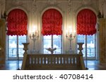palace interior with red curtains - stock photo