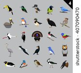 various birds cartoon vector... | Shutterstock .eps vector #407090470