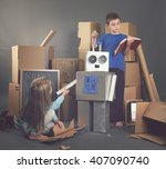 two children are building a... | Shutterstock . vector #407090740