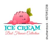 ice cream banner with candy... | Shutterstock .eps vector #407092258