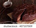 Piece Of Chocolate Cake On A...