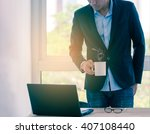 businessman relaxing by coffee... | Shutterstock . vector #407108440
