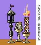 havdalah set.silver kiddush... | Shutterstock .eps vector #407109349