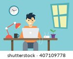 flat illustration  working desk ... | Shutterstock .eps vector #407109778
