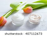 face cream and body lotion with ... | Shutterstock . vector #407112673