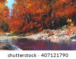 River In The Autumn Forest...
