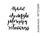 set of hand drawn brush letters.... | Shutterstock .eps vector #407121889