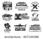 set of vintage surfing graphics ... | Shutterstock .eps vector #407134288
