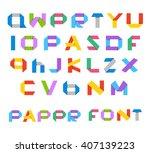 color paper alphabet vector... | Shutterstock .eps vector #407139223