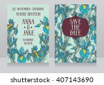 beautiful floral wedding cards... | Shutterstock .eps vector #407143690