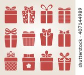 red present box icons vector...