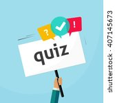 hand holding placard with quiz... | Shutterstock .eps vector #407145673